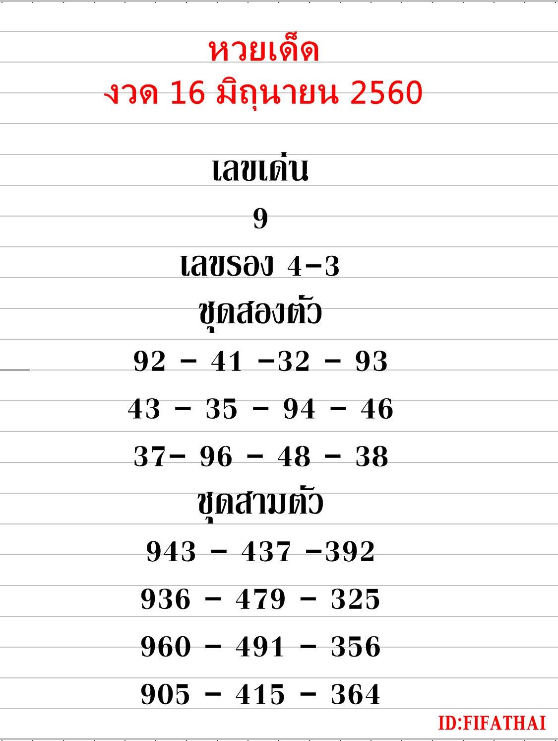 ข้อมูลเลขเด็ดงวดนี้ เซียนหวยใบ้เลขเด็ด งวด 16 มิถุนายน 2560